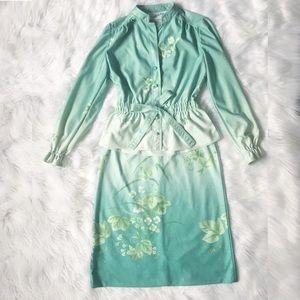 Vintage Leslie Fay Skirt Set in Green Florals